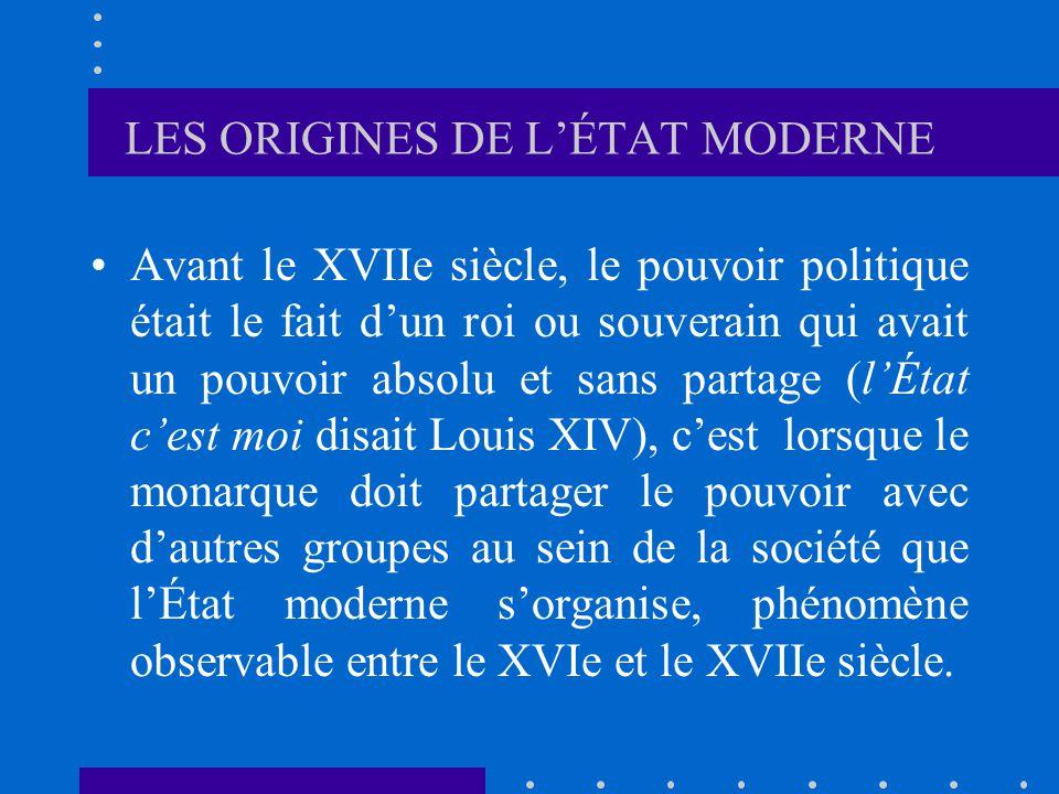 LES ORIGINES DE L'ÉTAT MODERNE