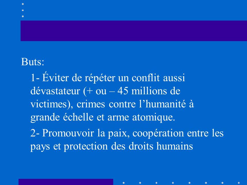 Buts: 1- Éviter de répéter un conflit aussi dévastateur (+ ou – 45 millions de victimes), crimes contre l'humanité à grande échelle et arme atomique.