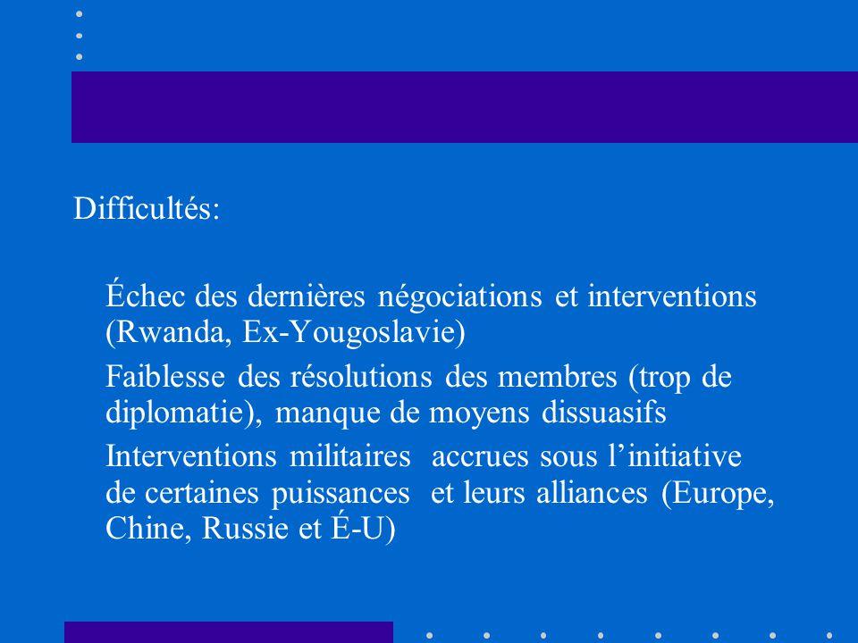 Difficultés: Échec des dernières négociations et interventions (Rwanda, Ex-Yougoslavie)