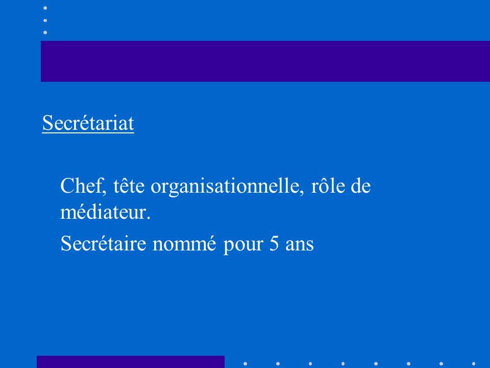 Secrétariat Chef, tête organisationnelle, rôle de médiateur. Secrétaire nommé pour 5 ans