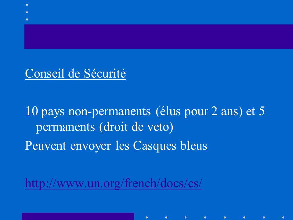 Conseil de Sécurité 10 pays non-permanents (élus pour 2 ans) et 5 permanents (droit de veto) Peuvent envoyer les Casques bleus.