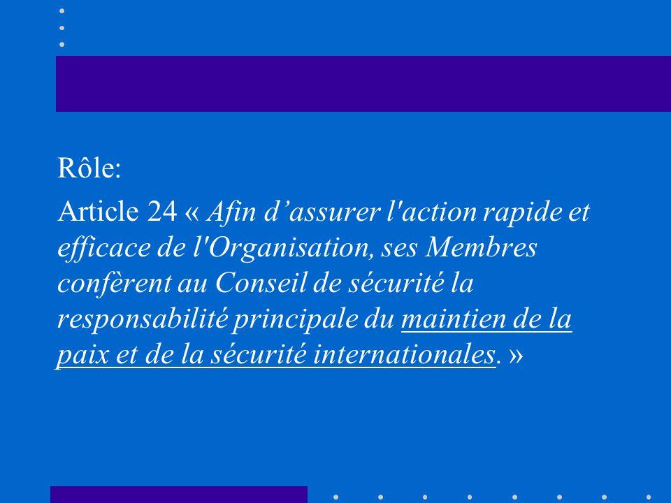 Rôle: Article 24 « Afin d'assurer l action rapide et efficace de l Organisation, ses Membres confèrent au Conseil de sécurité la responsabilité principale du maintien de la paix et de la sécurité internationales.