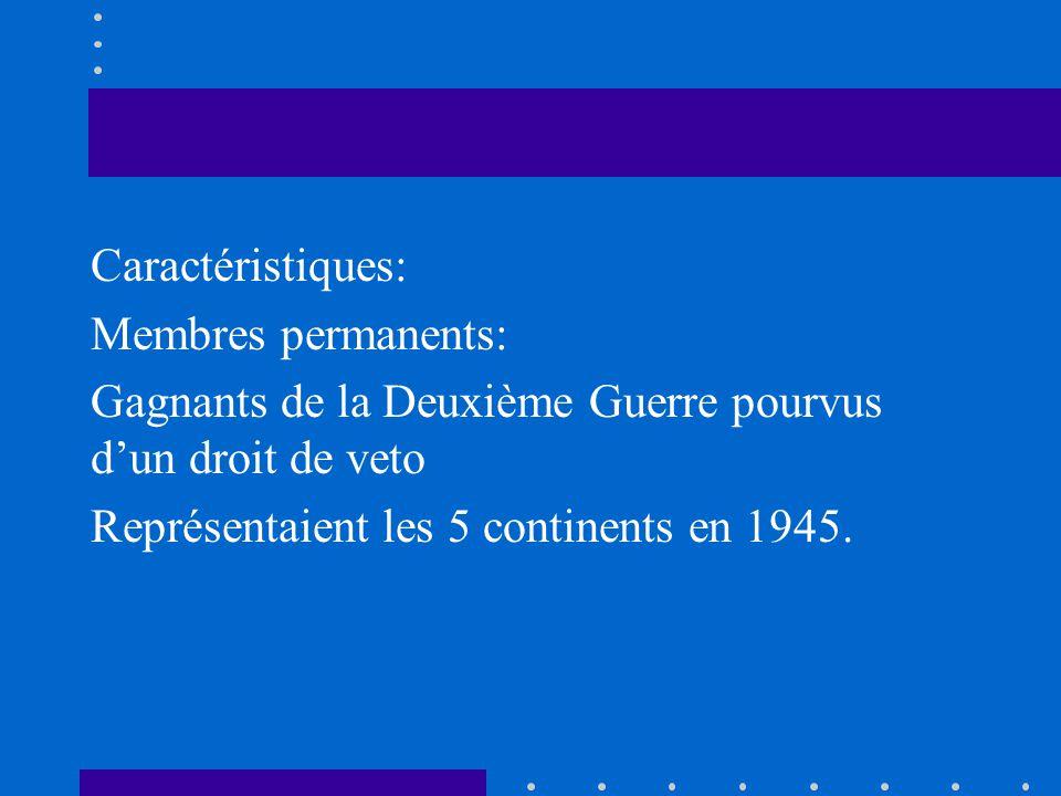 Caractéristiques: Membres permanents: Gagnants de la Deuxième Guerre pourvus d'un droit de veto Représentaient les 5 continents en 1945.