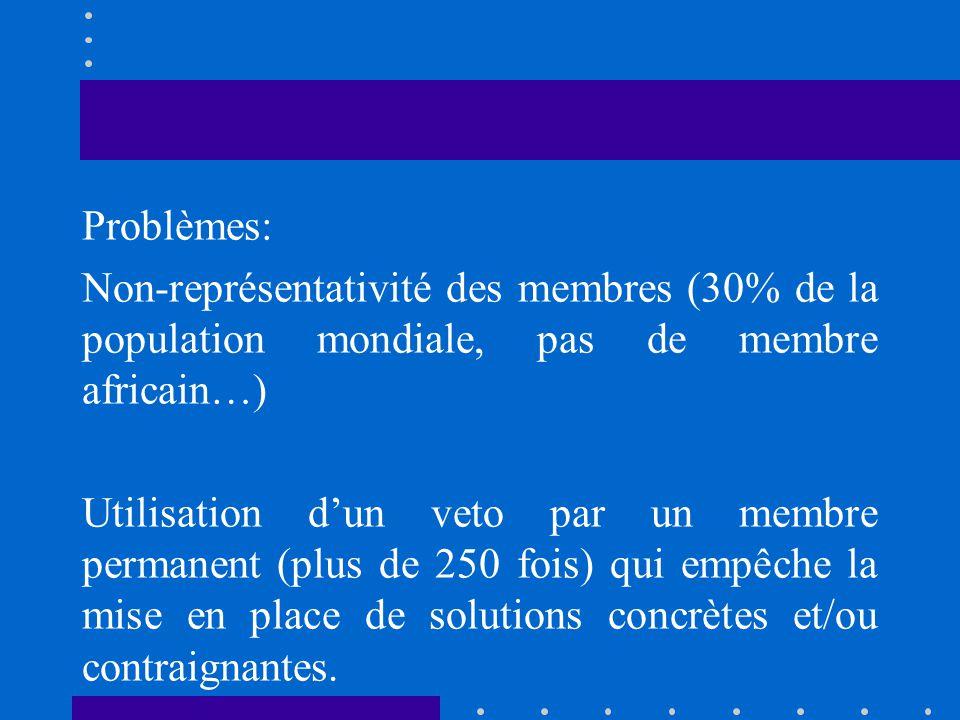 Problèmes: Non-représentativité des membres (30% de la population mondiale, pas de membre africain…) Utilisation d'un veto par un membre permanent (plus de 250 fois) qui empêche la mise en place de solutions concrètes et/ou contraignantes.
