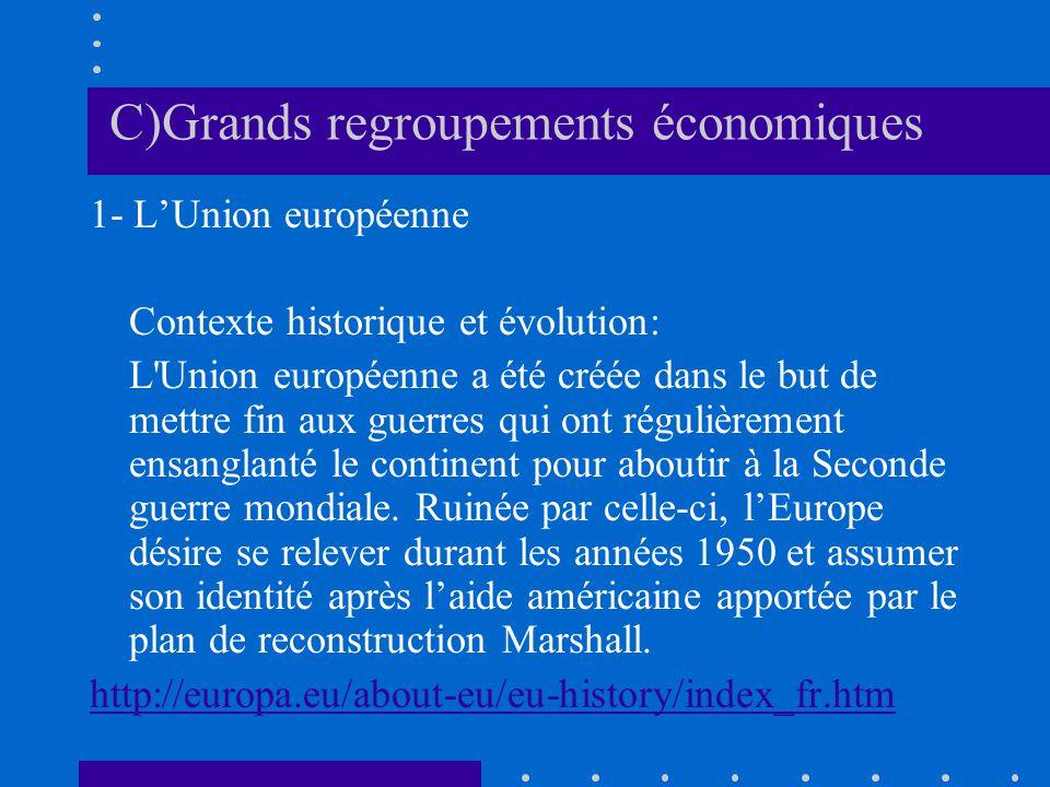 C)Grands regroupements économiques