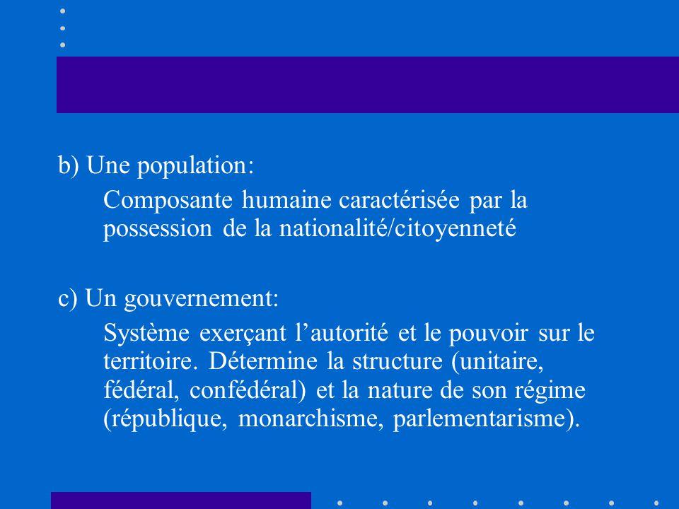 b) Une population: Composante humaine caractérisée par la possession de la nationalité/citoyenneté.