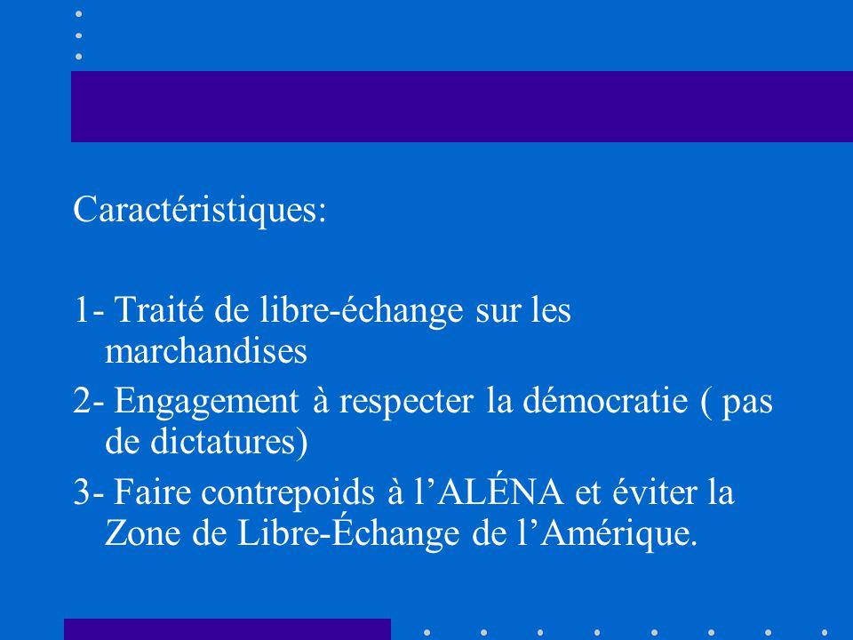 Caractéristiques: 1- Traité de libre-échange sur les marchandises. 2- Engagement à respecter la démocratie ( pas de dictatures)