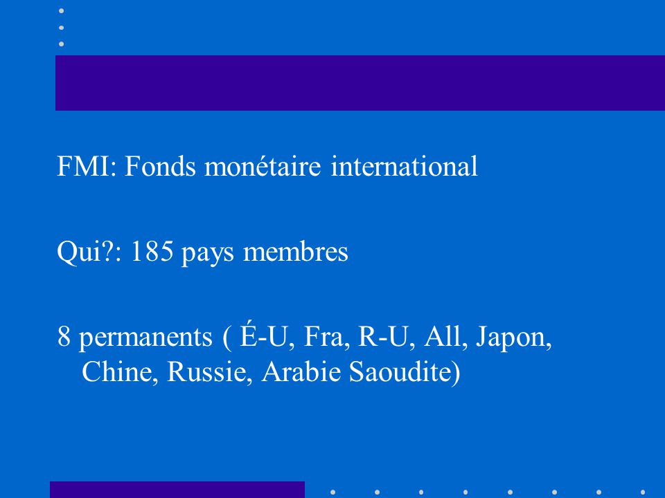 FMI: Fonds monétaire international