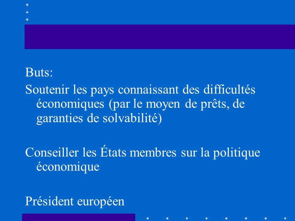 Buts: Soutenir les pays connaissant des difficultés économiques (par le moyen de prêts, de garanties de solvabilité)