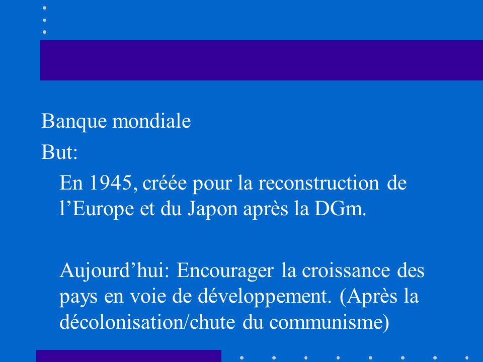 Banque mondiale But: En 1945, créée pour la reconstruction de l'Europe et du Japon après la DGm.