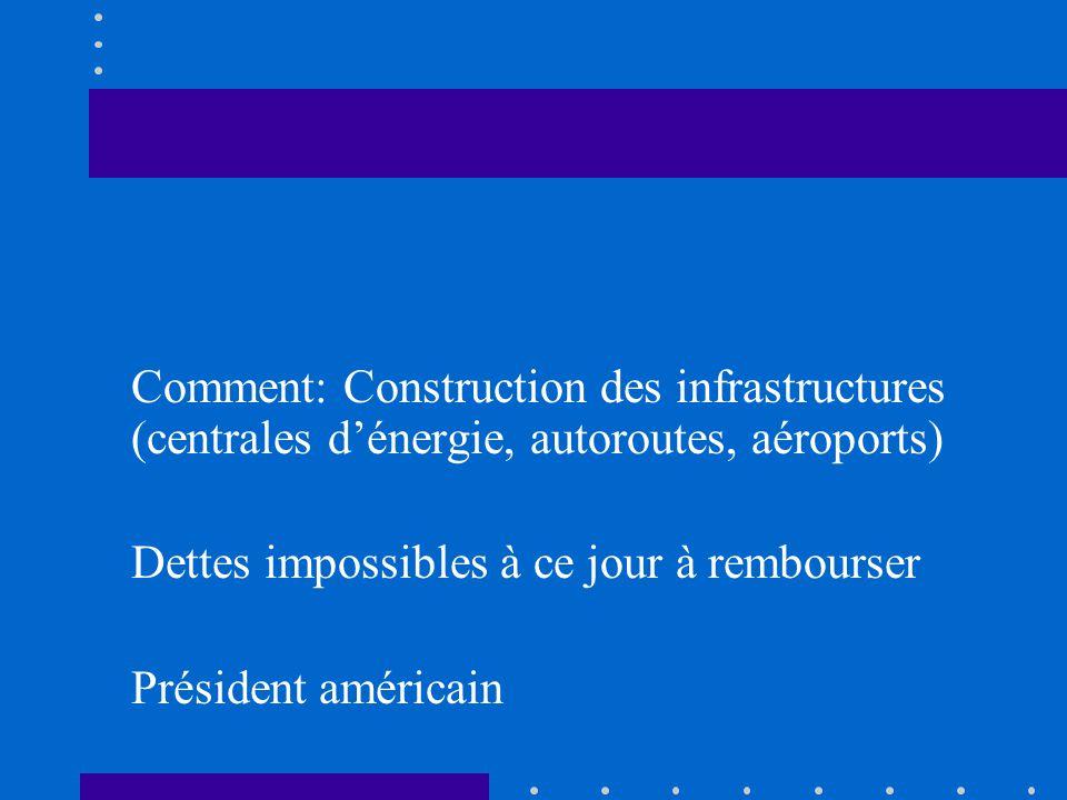 Comment: Construction des infrastructures (centrales d'énergie, autoroutes, aéroports)