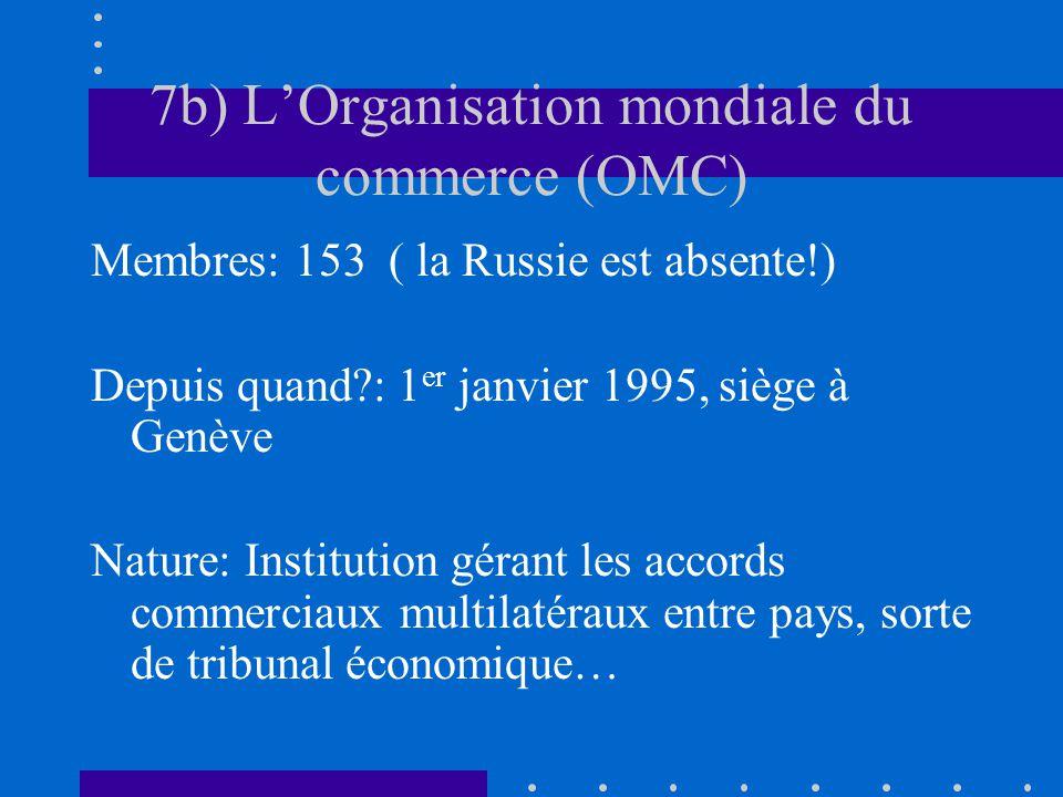 7b) L'Organisation mondiale du commerce (OMC)