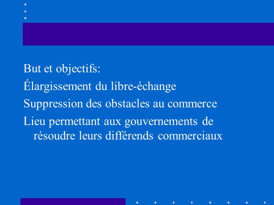 But et objectifs: Élargissement du libre-échange. Suppression des obstacles au commerce.
