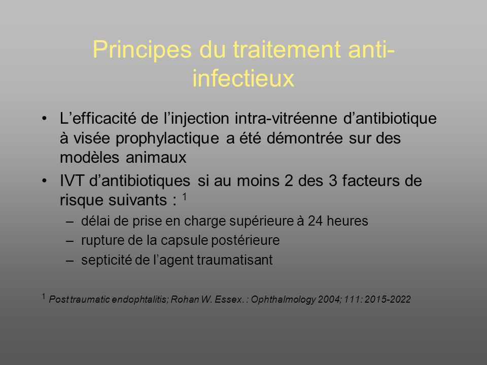 Principes du traitement anti-infectieux