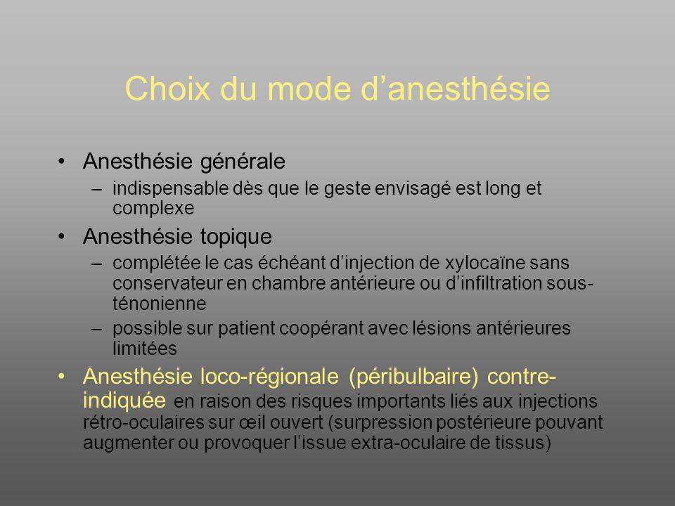 Choix du mode d'anesthésie