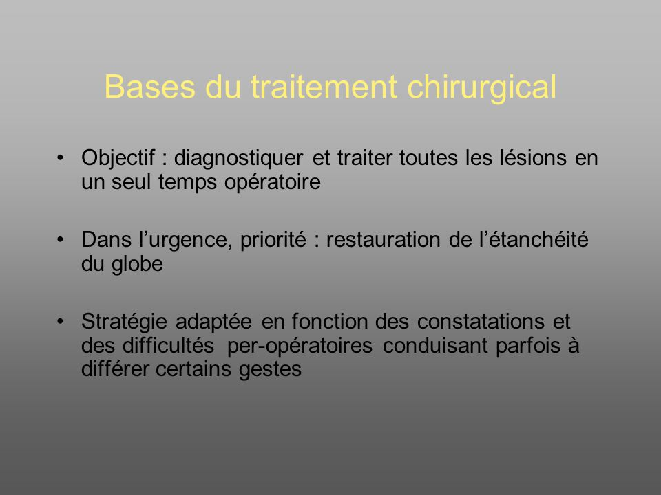 Bases du traitement chirurgical