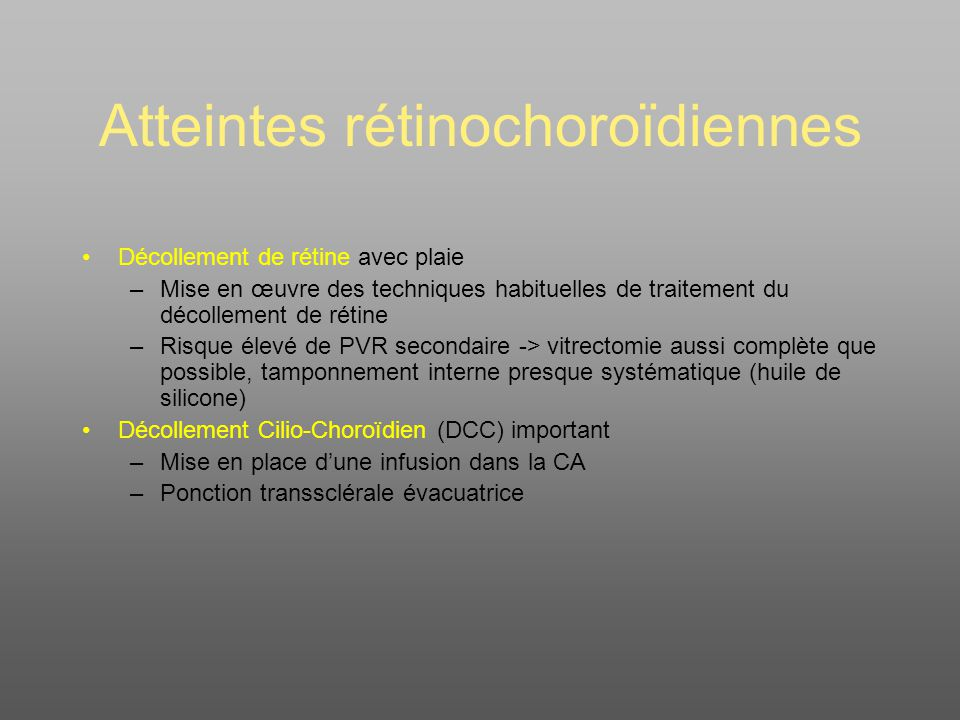 Atteintes rétinochoroïdiennes