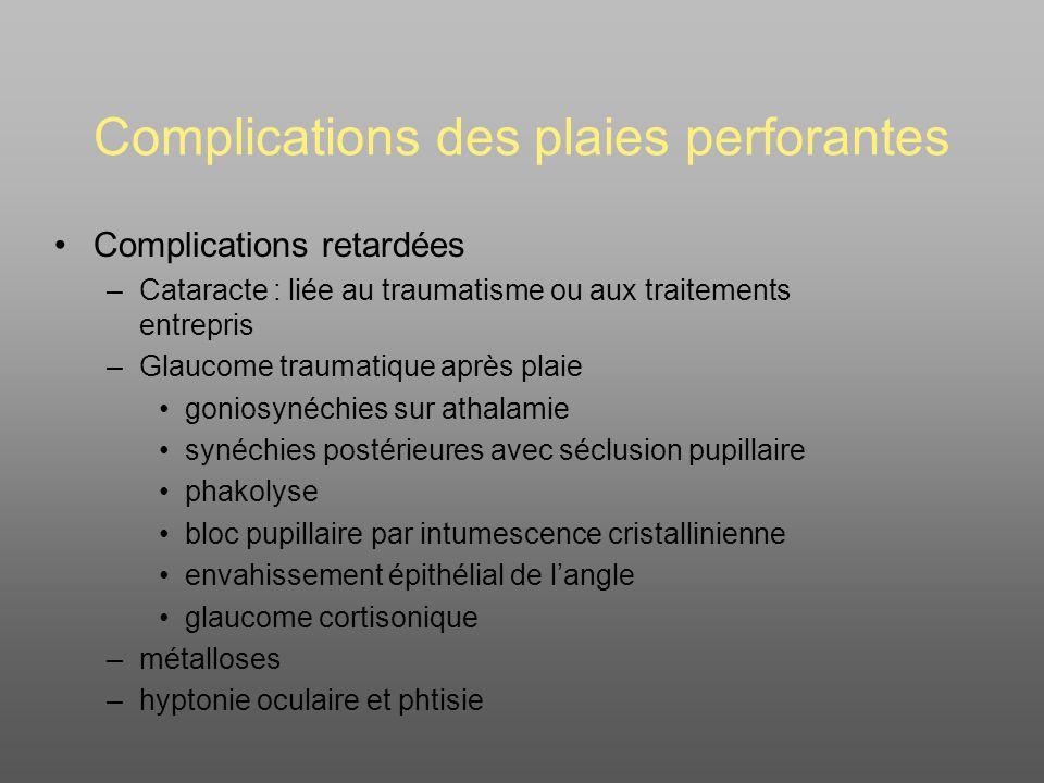 Complications des plaies perforantes