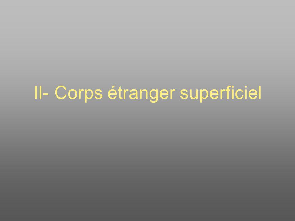 II- Corps étranger superficiel