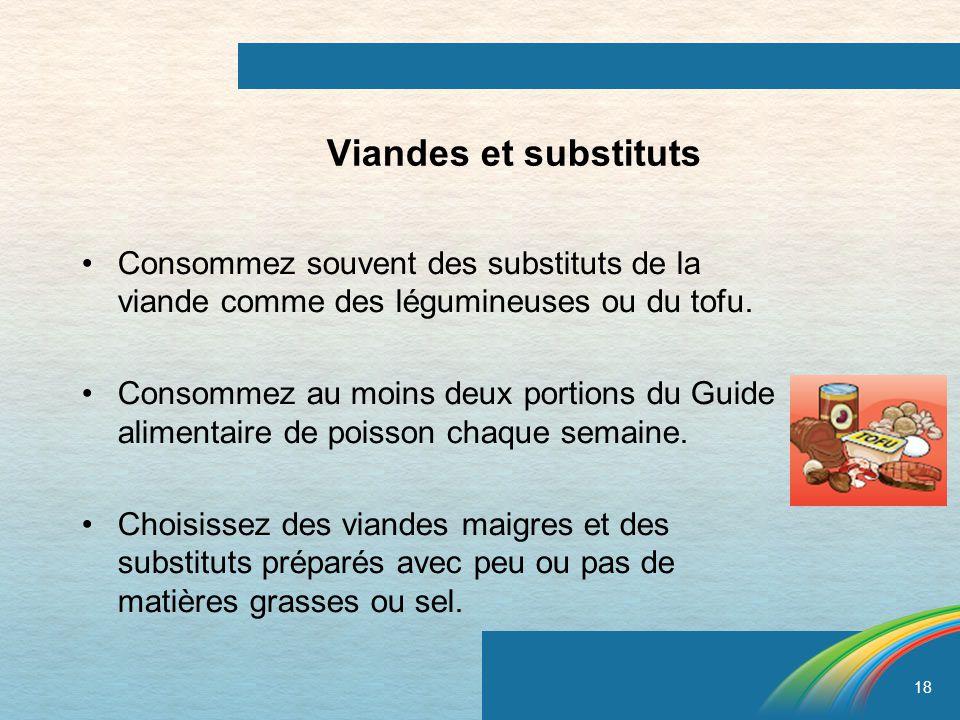 Viandes et substituts Consommez souvent des substituts de la viande comme des légumineuses ou du tofu.