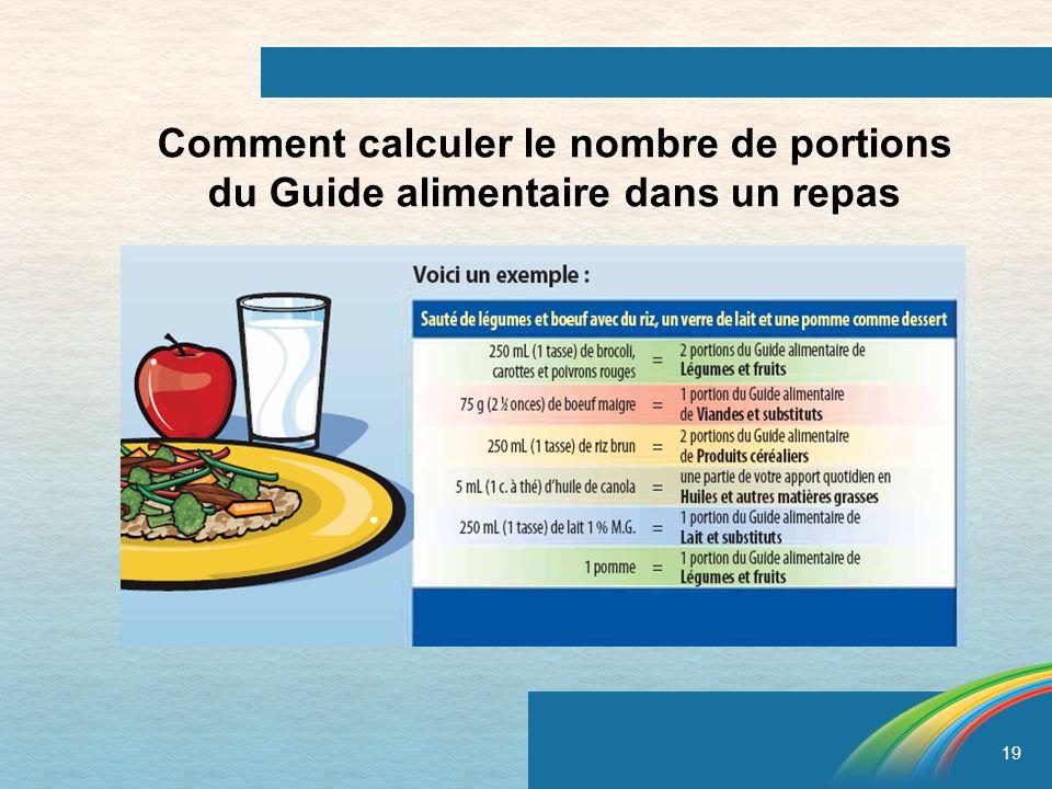 Comment calculer le nombre de portions du Guide alimentaire dans un repas