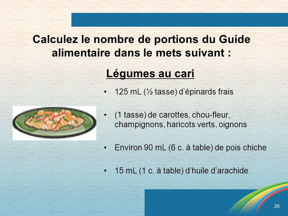 Calculez le nombre de portions du Guide alimentaire dans le mets suivant :