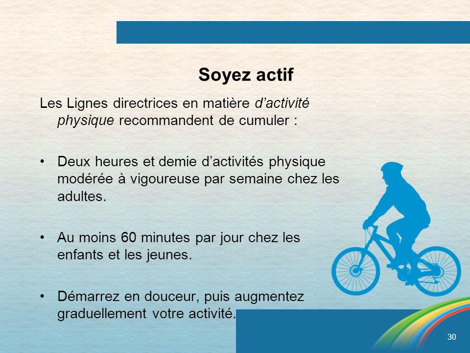 Soyez actif Les Lignes directrices en matière d'activité physique recommandent de cumuler :