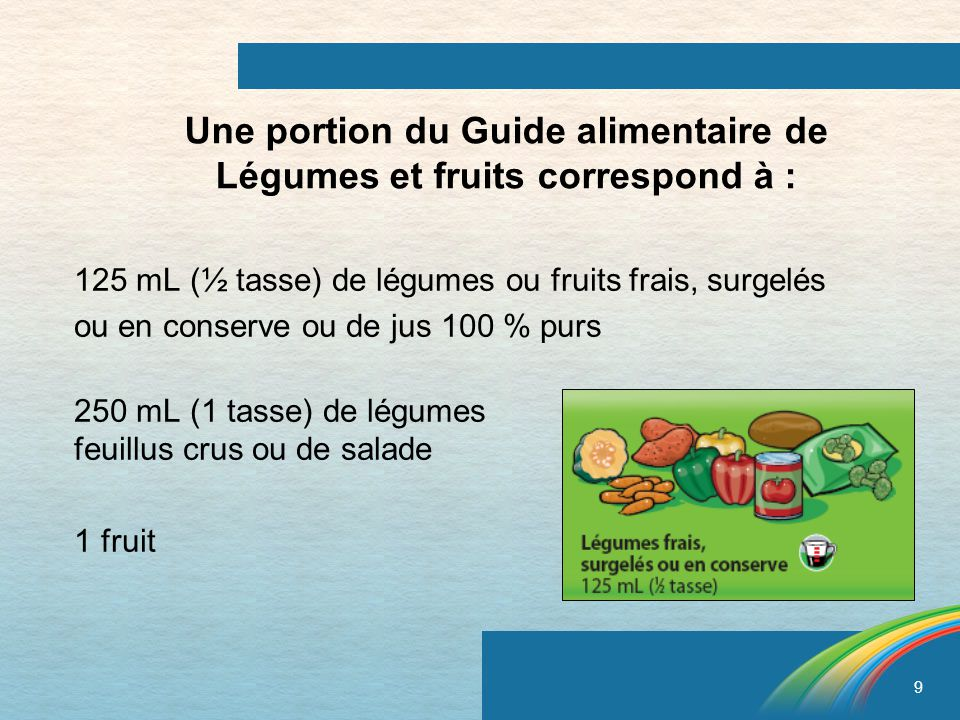 Une portion du Guide alimentaire de Légumes et fruits correspond à :