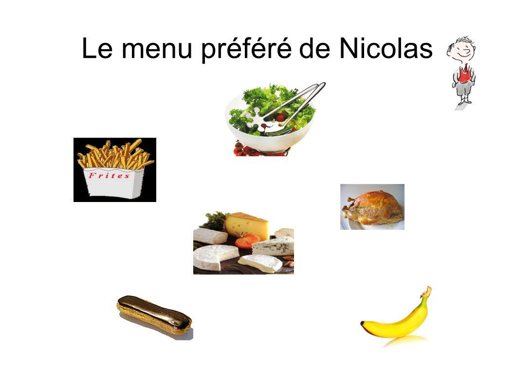 Le menu préféré de Nicolas
