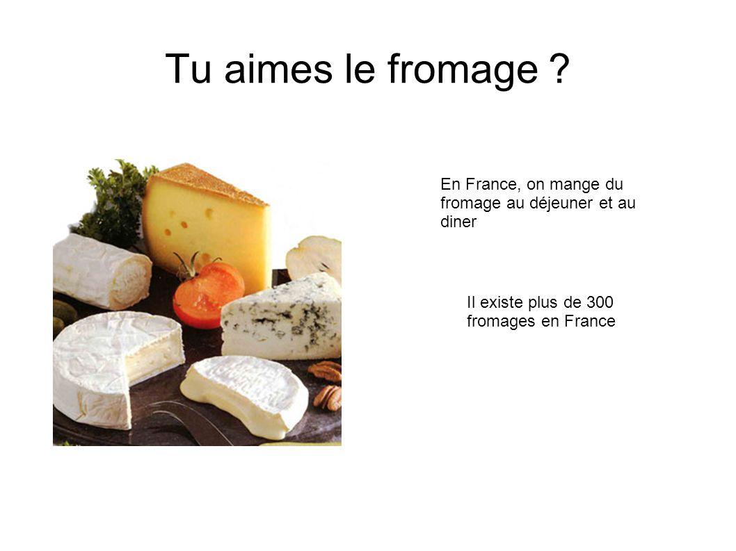 Tu aimes le fromage . En France, on mange du fromage au déjeuner et au diner.