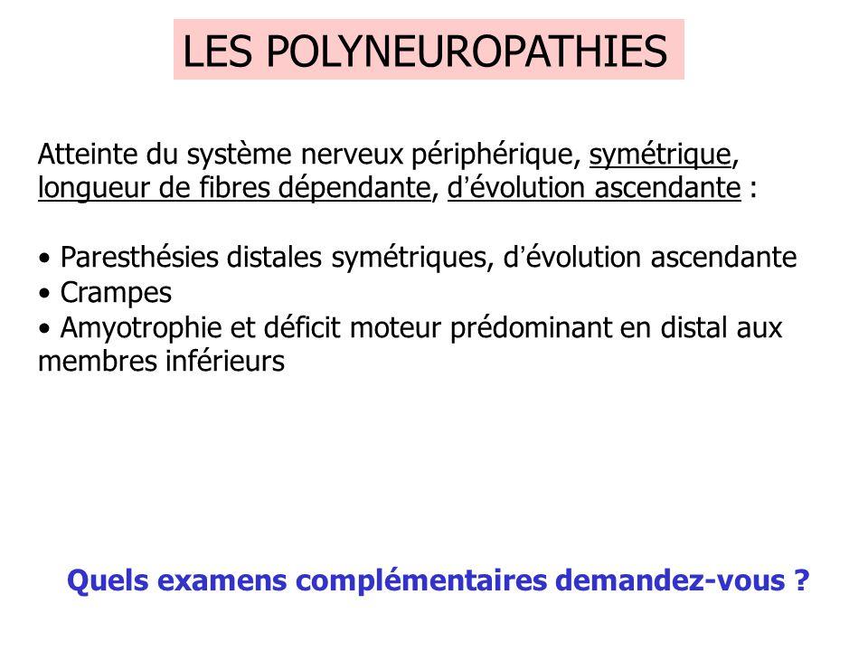 LES POLYNEUROPATHIES Atteinte du système nerveux périphérique, symétrique, longueur de fibres dépendante, d'évolution ascendante :