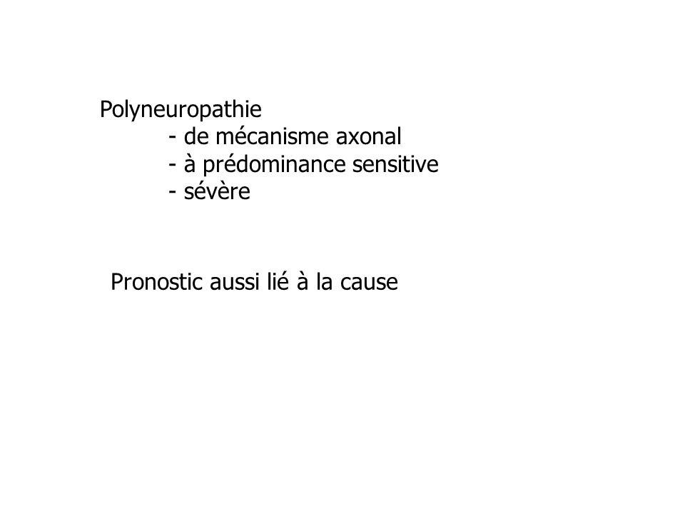 Polyneuropathie - de mécanisme axonal. - à prédominance sensitive.