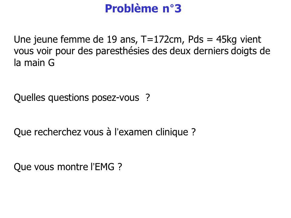 Problème n°3 Une jeune femme de 19 ans, T=172cm, Pds = 45kg vient vous voir pour des paresthésies des deux derniers doigts de la main G.