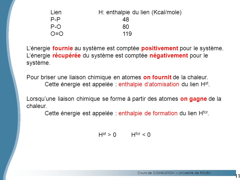 Lien H: enthalpie du lien (Kcal/mole) P-P 48 P-O 80 O=O 119