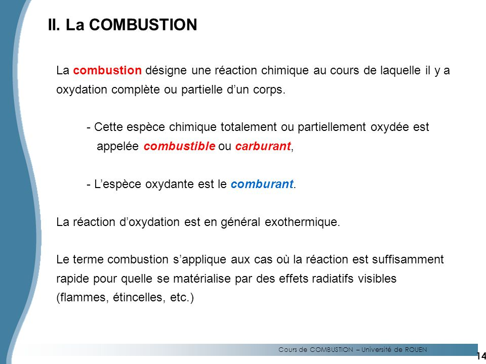 Cours de COMBUSTION – Université de ROUEN
