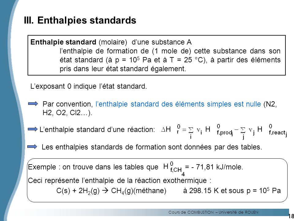 III. Enthalpies standards