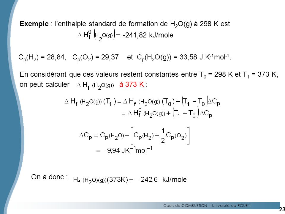 Exemple : l'enthalpie standard de formation de H2O(g) à 298 K est