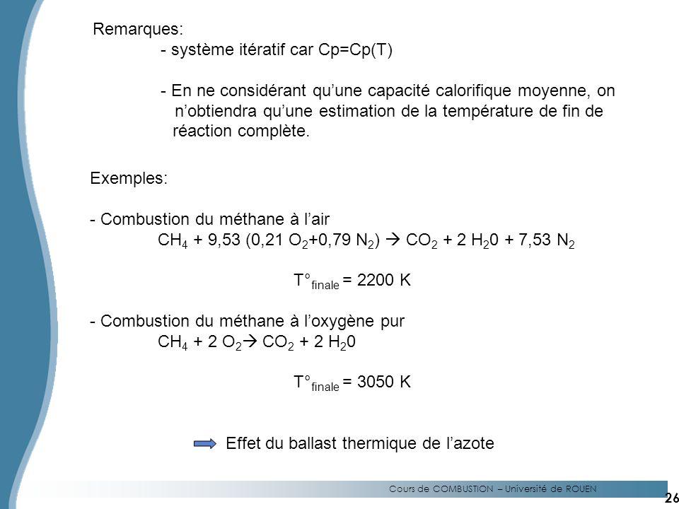 - système itératif car Cp=Cp(T)