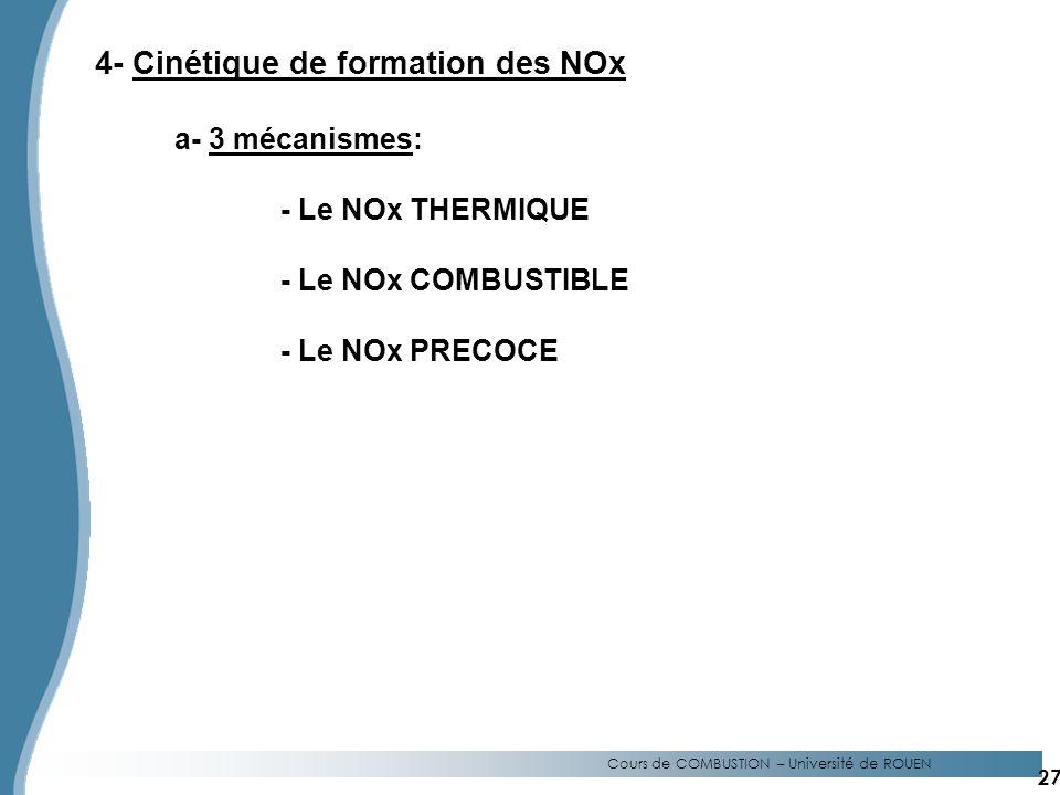 4- Cinétique de formation des NOx