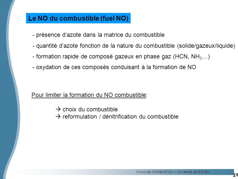 Le NO du combustible (fuel NO)