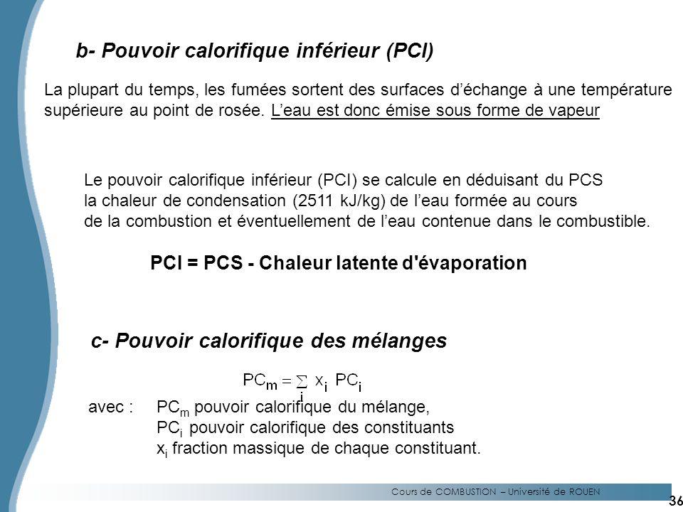 b- Pouvoir calorifique inférieur (PCI)