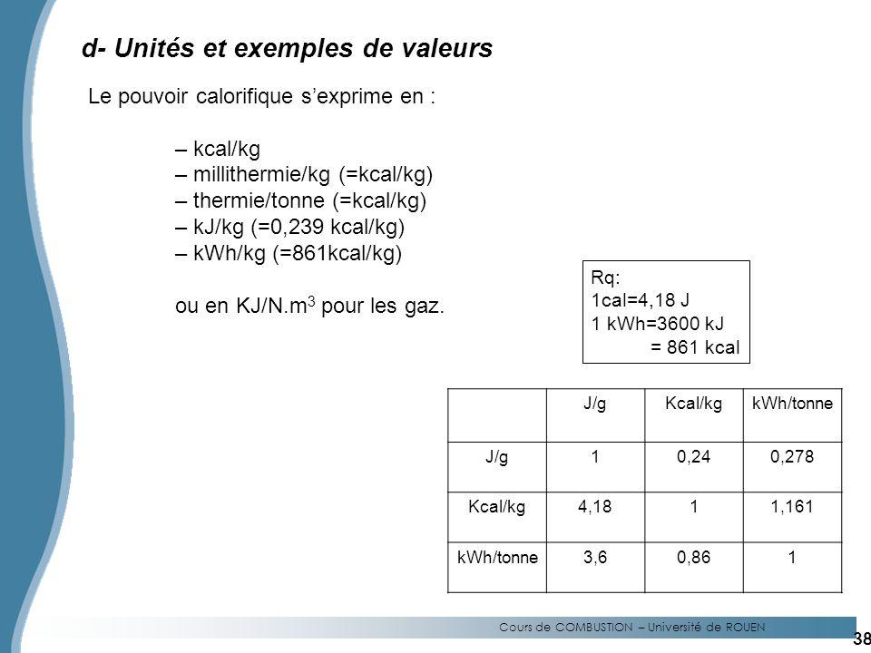 d- Unités et exemples de valeurs