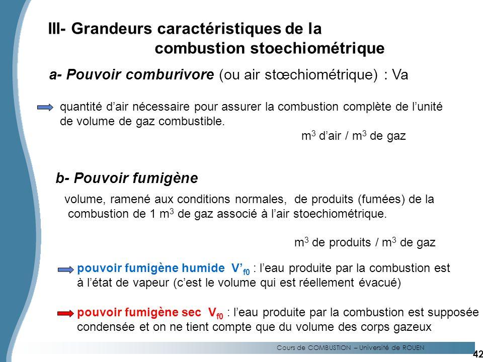 III- Grandeurs caractéristiques de la combustion stoechiométrique