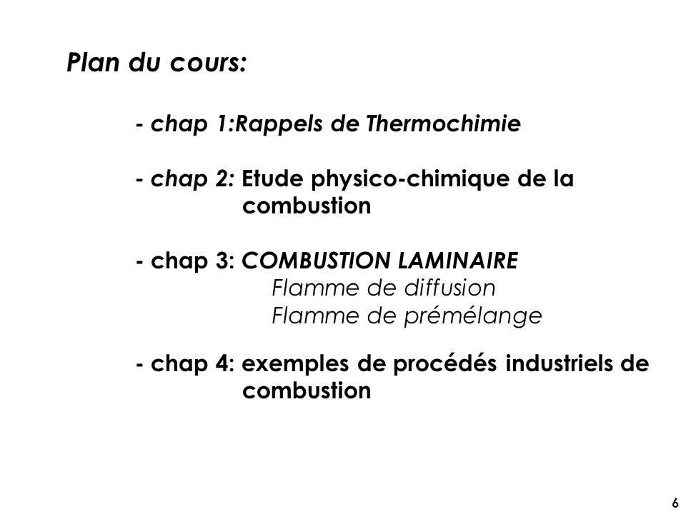 Plan du cours: - chap 1:Rappels de Thermochimie
