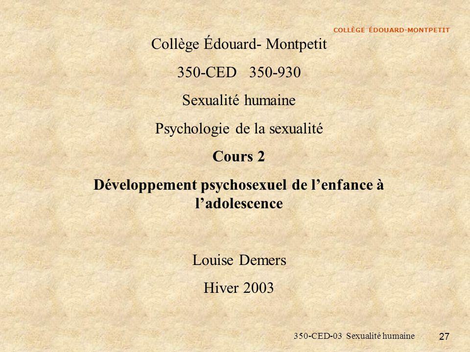 Développement psychosexuel de l'enfance à l'adolescence