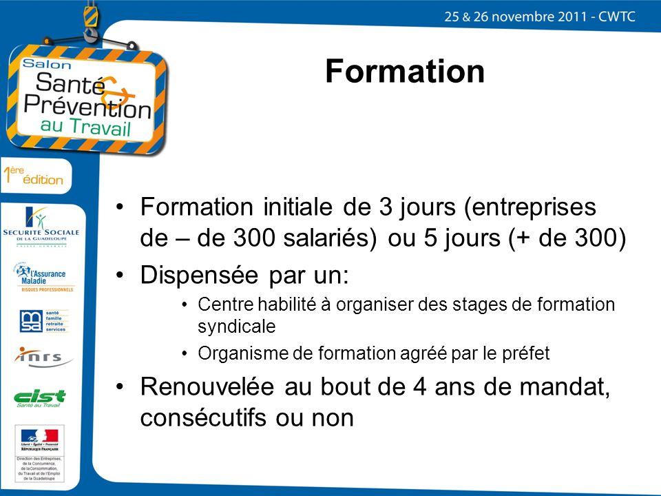 Formation Formation initiale de 3 jours (entreprises de – de 300 salariés) ou 5 jours (+ de 300) Dispensée par un:
