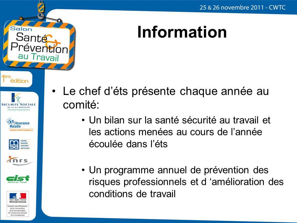 Information Le chef d'éts présente chaque année au comité: