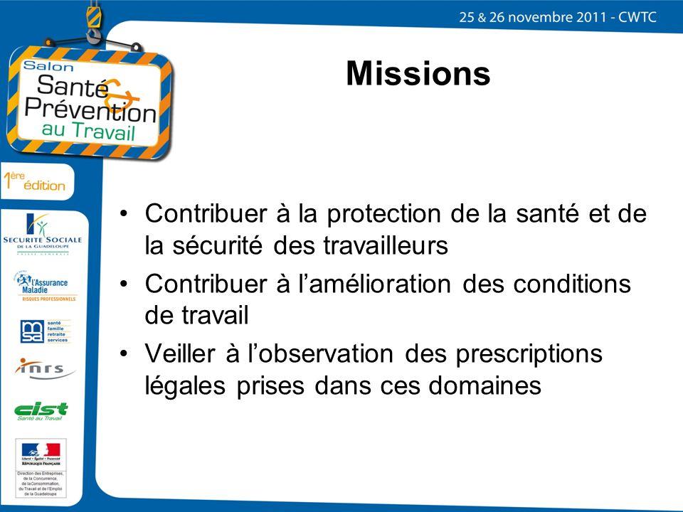 Missions Contribuer à la protection de la santé et de la sécurité des travailleurs. Contribuer à l'amélioration des conditions de travail.