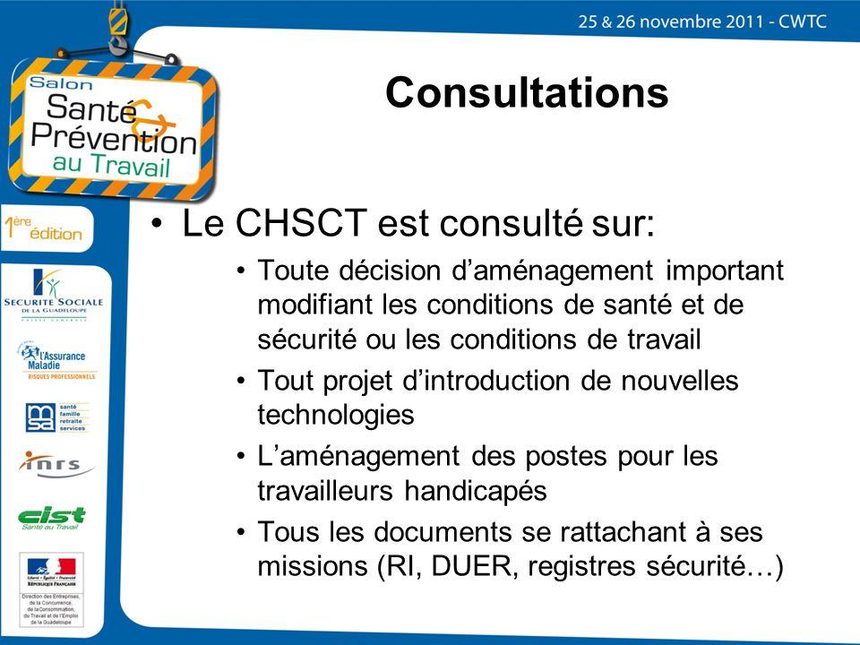Consultations Le CHSCT est consulté sur: