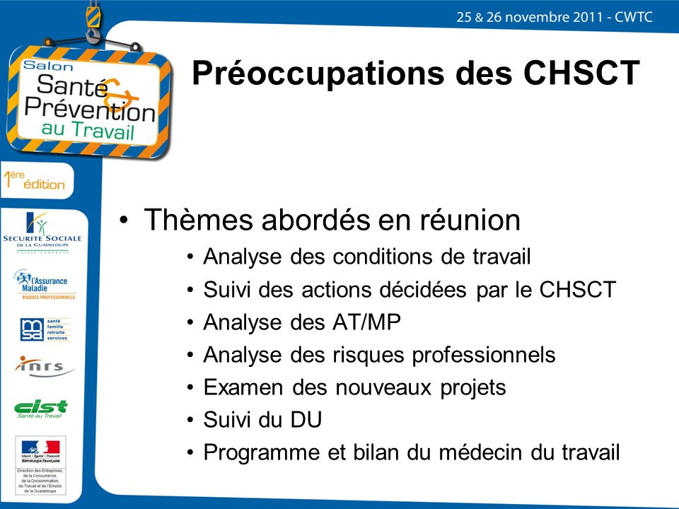 Préoccupations des CHSCT
